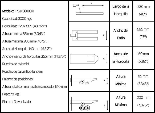 características técnicas patin hidráulico modelo pgd3000n