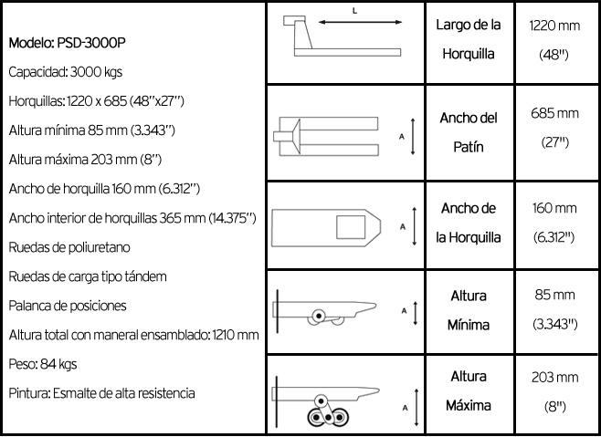 características técnicas patin hidráulico modelo PSD 3000P