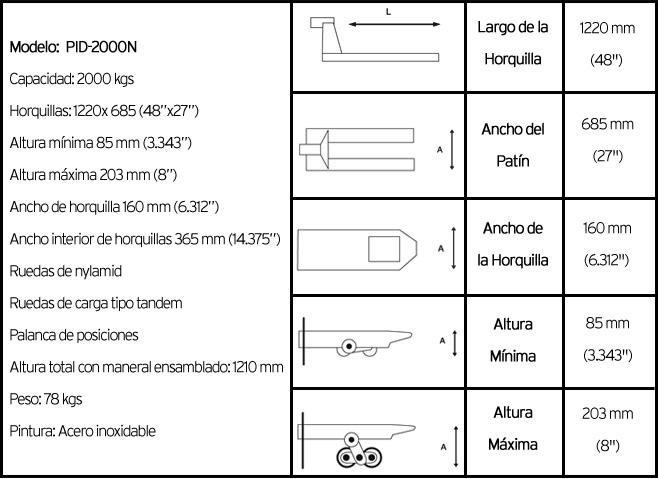 características técnicas patin hidráulico modelo PID2000N